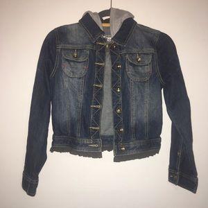 DKNY Denim Jean Hooded Jacket - Large